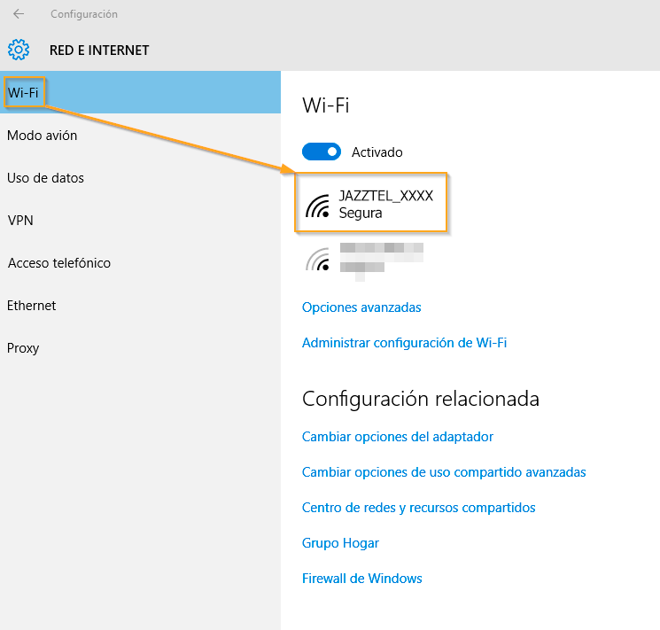 Windows 10 Wi-Fi JAZZTEL 3