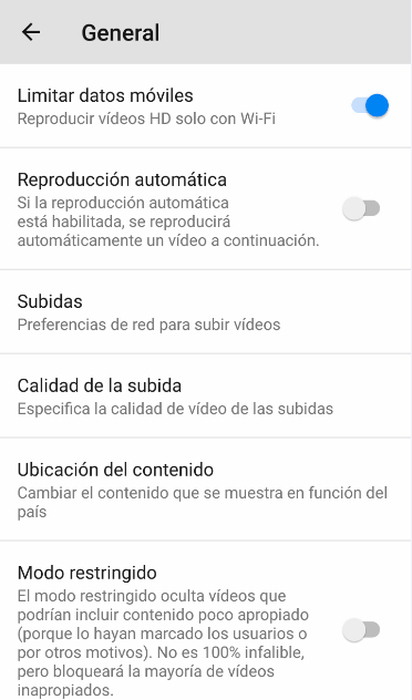 Ahorrar datos app youtube