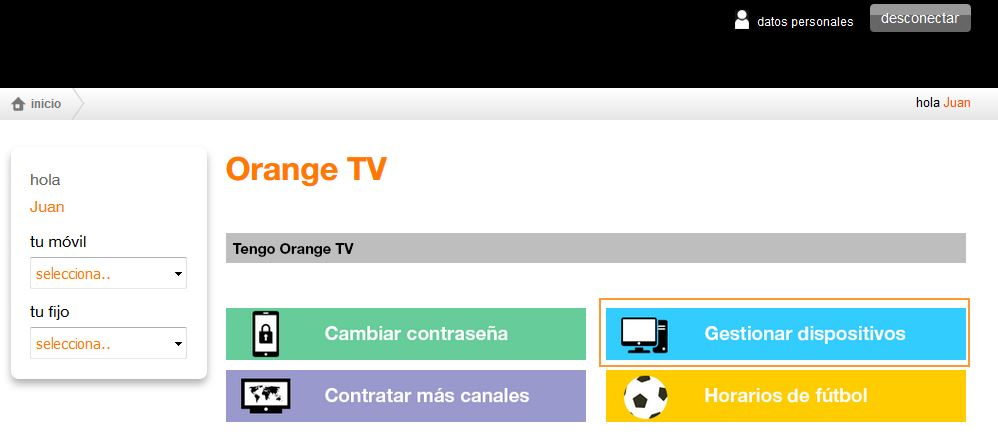 Orange TV deshabilitar dispositivos pestaña