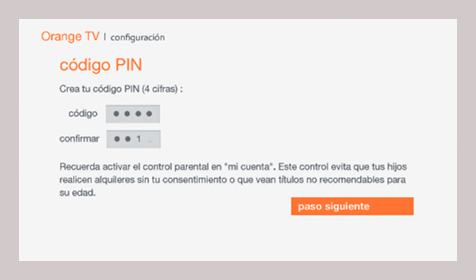 Orange TV codigo pin