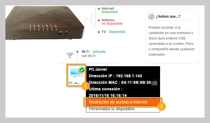 Livebox Fibra bloquear acceso internet dispositivos