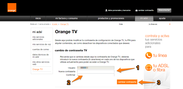 contraseña orange tv 4