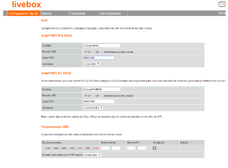 livebox next front admin