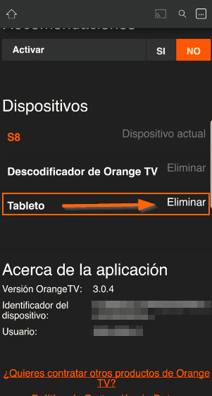 App Orange TV eliminar dispositivos 3