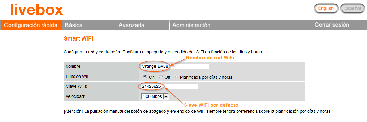 clave wifi livebox 2.1 defecto
