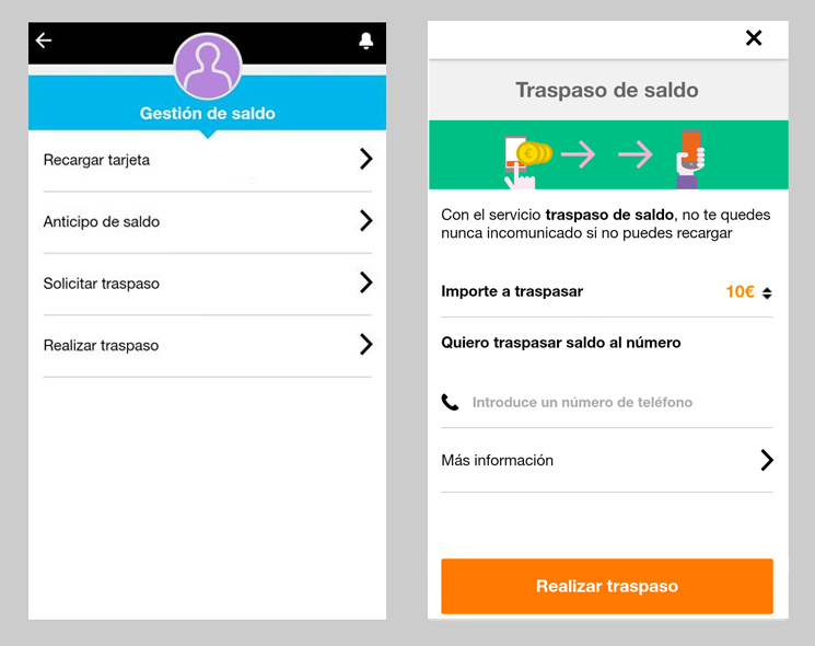 Pedir un traspaso de saldo con la app Mi Orange