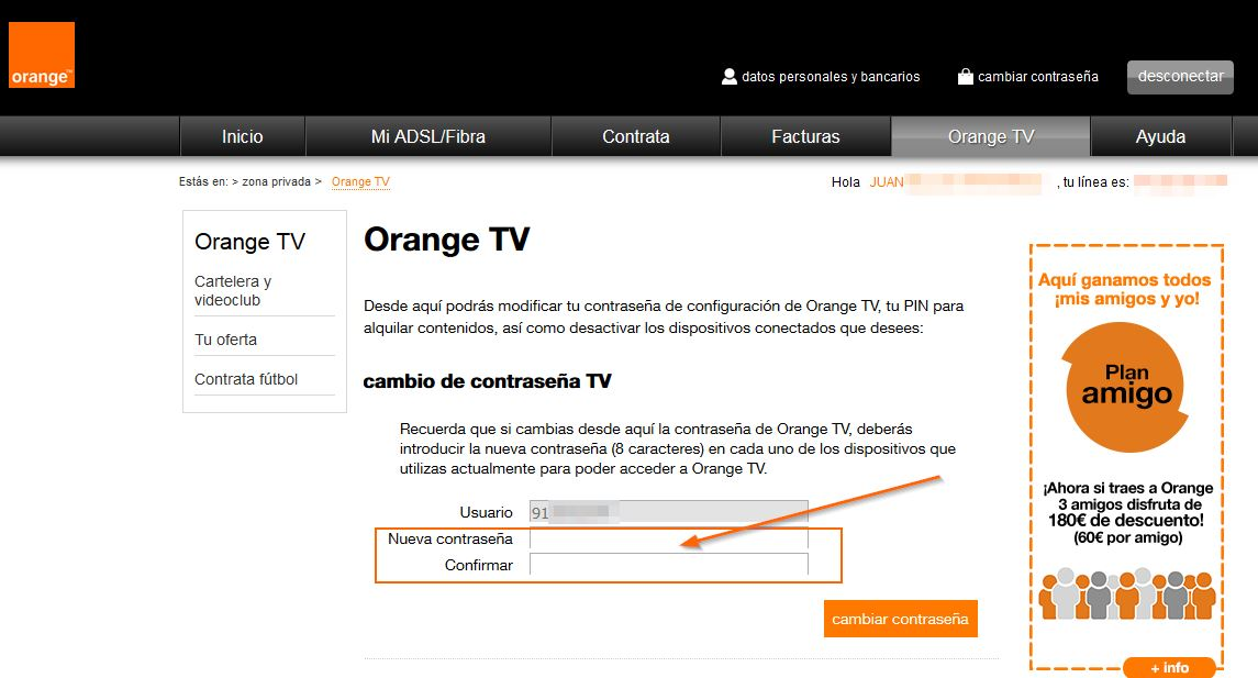 Cambiar contraseña Orange TV web