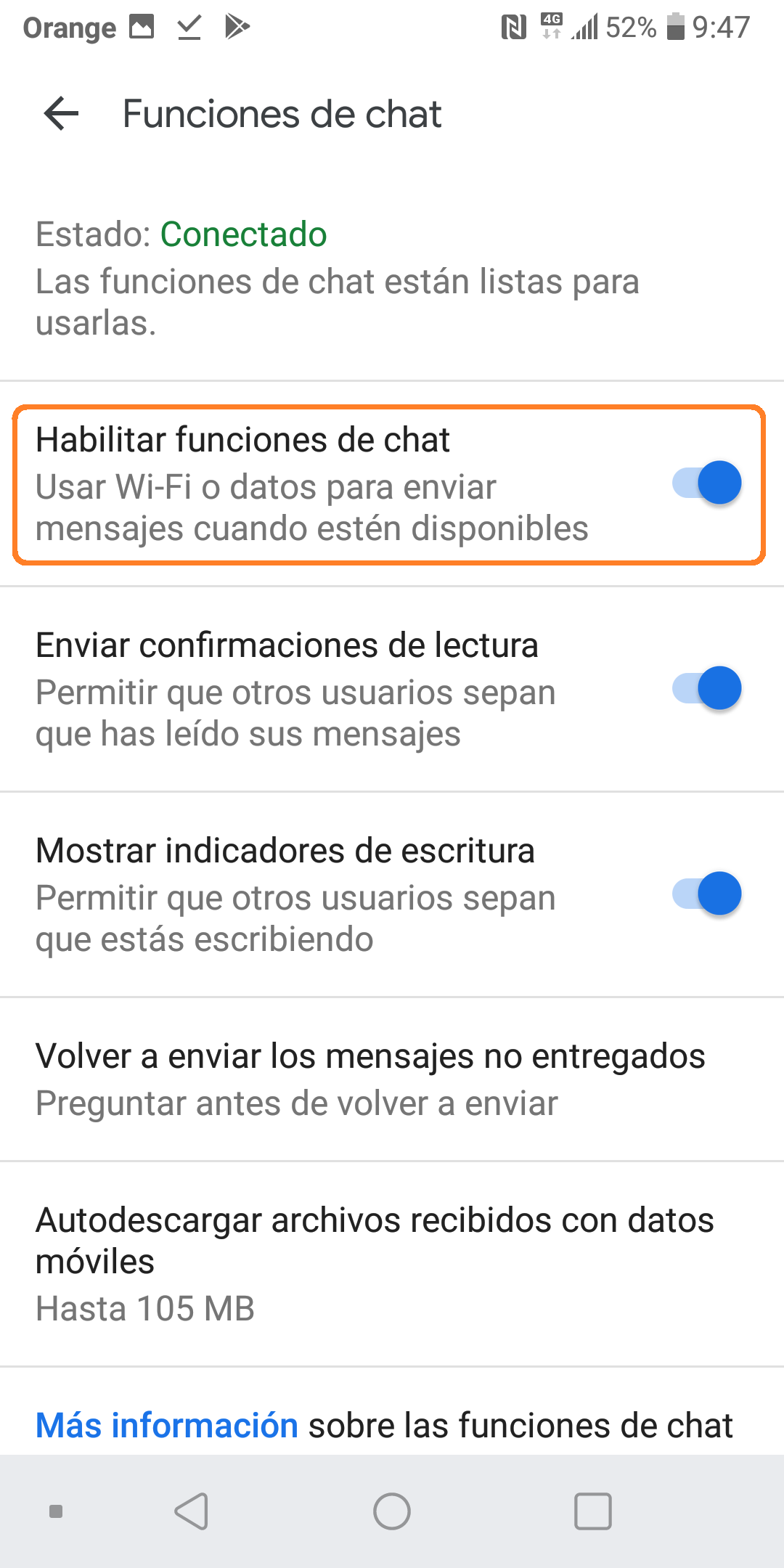 Desactivar ChatMessages Habilitar funciones de chat