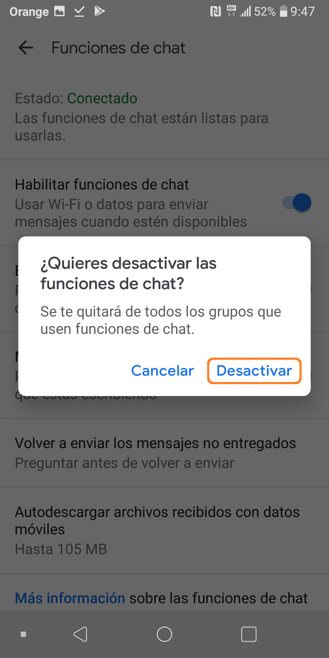 Desactivar ChatMessages Confirmación