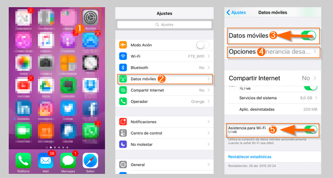 Desactivar datos iPhone