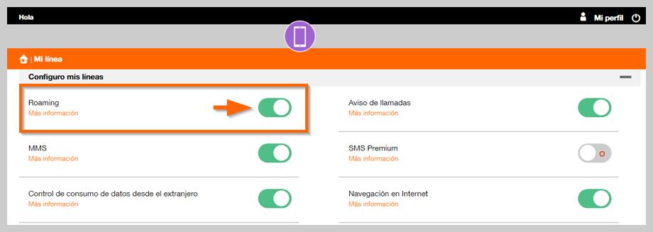 ¿Cómo puedo activar o desactivar el roaming de mi línea móvil?