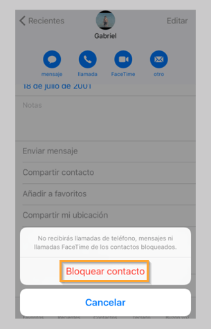 Bloqueo llamadsa entrantes iPhone