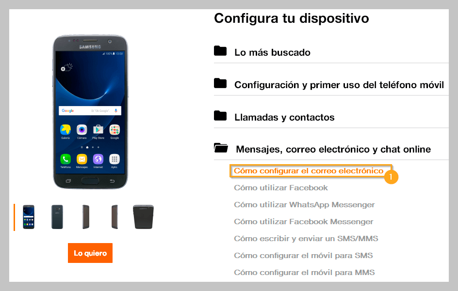 Configurar email guias Orange