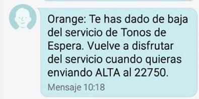 SMS de confirmación de tonos de espera