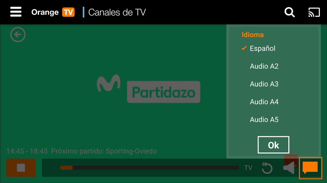 Audio dual Android Orange TV app 2