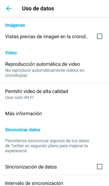 Ahorrar datos app twitter