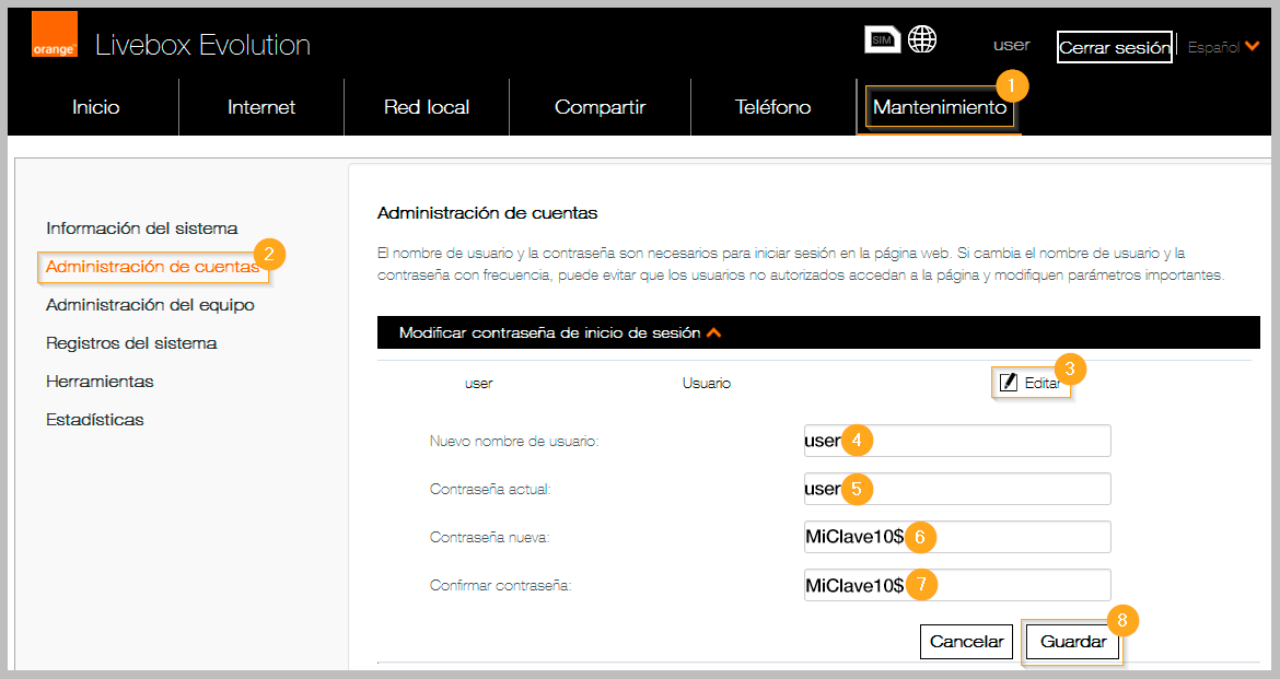 Livebox Evolution cambio clave admin