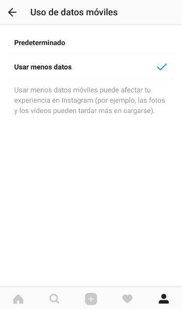 Ahorrar datos app instagram