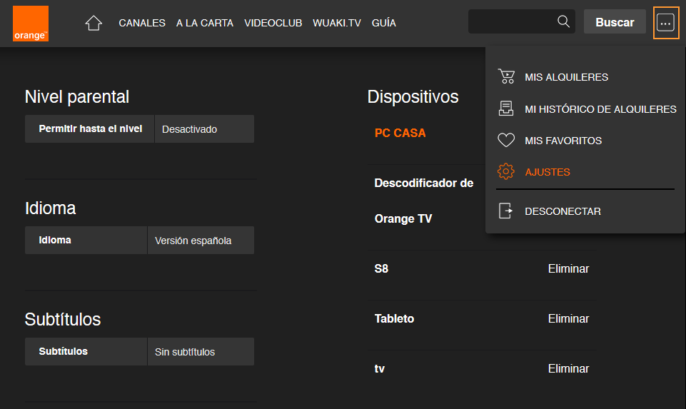 Desvincular dispositivos Orange TV desde PC con Firefox